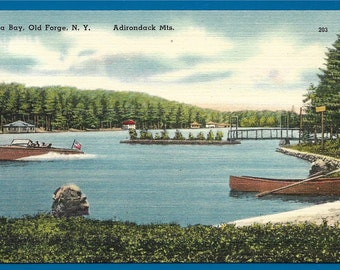Linen Postcard - Boating on Bee Bay, Old Forge New York in the Adirondack Mountains (2090)