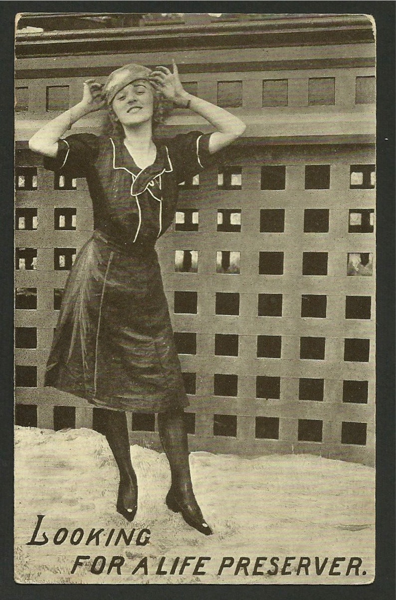 1118a Vintage Postcard Greeting Woman in a Dress  Looking for a Life Preserver