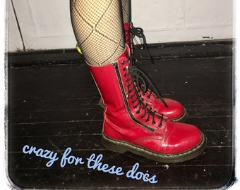 403a31aa5ed3 Vintage Red Patent Leather Doc Martens Upcycled With Giant Safety Pins  Women's Size 9