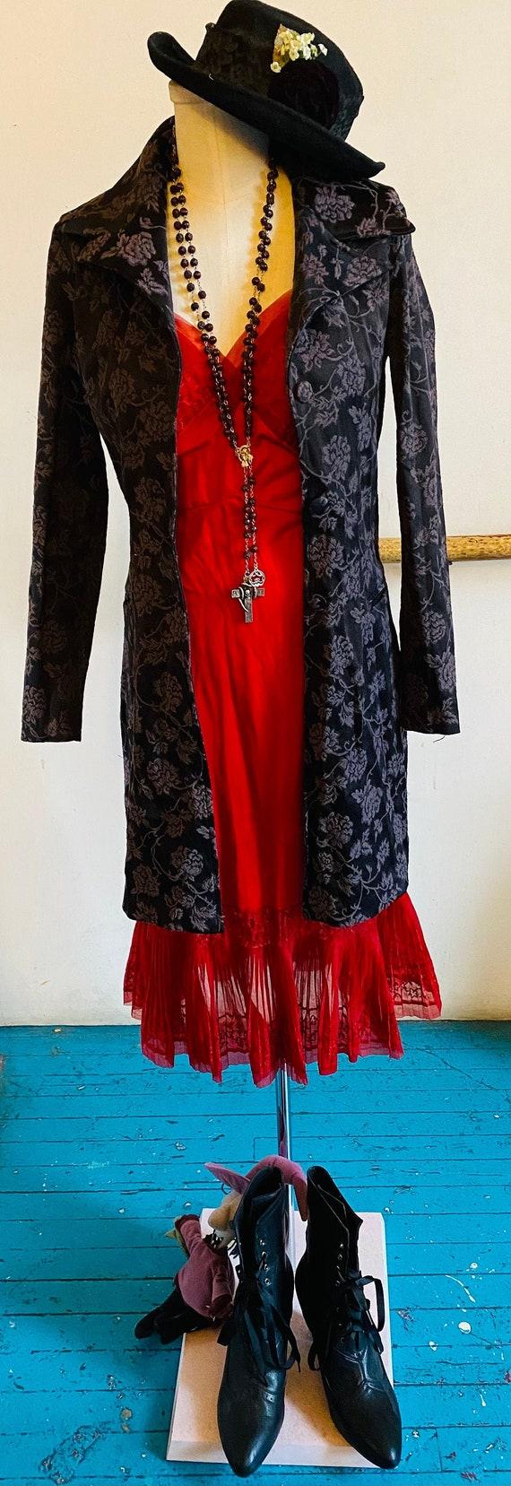 1940/'s Swing Style Black Opera Coat AMAZING Vintage Detailed Goth