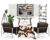 Home Office Online Interior Design Moodboard - Masculine Modern Contemporary Industrial Rustic Office Designs