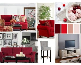 Moodboard - Contemporary Online Living Room Interior Design Moodboard