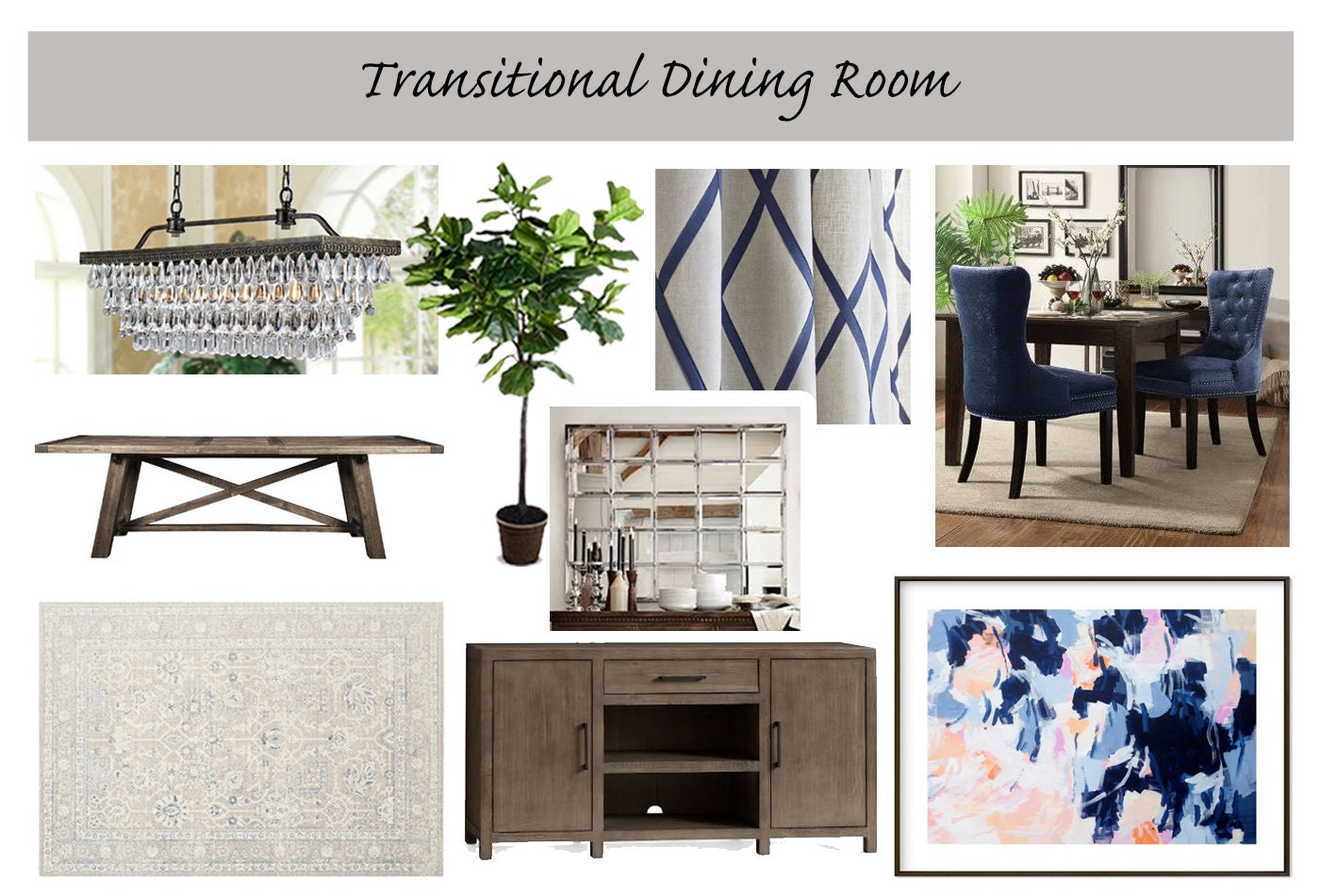 Sala da pranzo Online Interior Design Moodboard sala da | Etsy