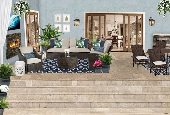 3d Rendering Patio Design Transitional Patio Lanai Patio Etsy