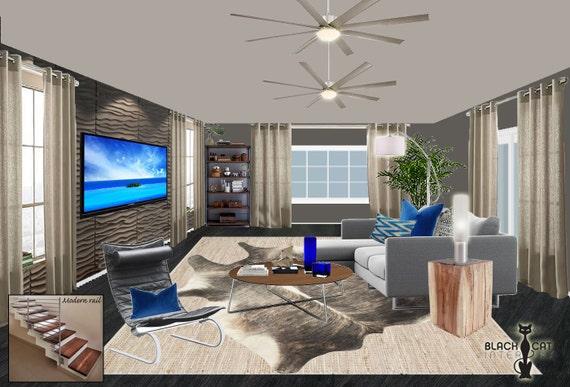 Moderne Wohnzimmer Innenarchitektur - männliche Wohnzimmer Designs -  moderne Wohnzimmer Designs - Mann Höhle Medien TV-Raum Designs