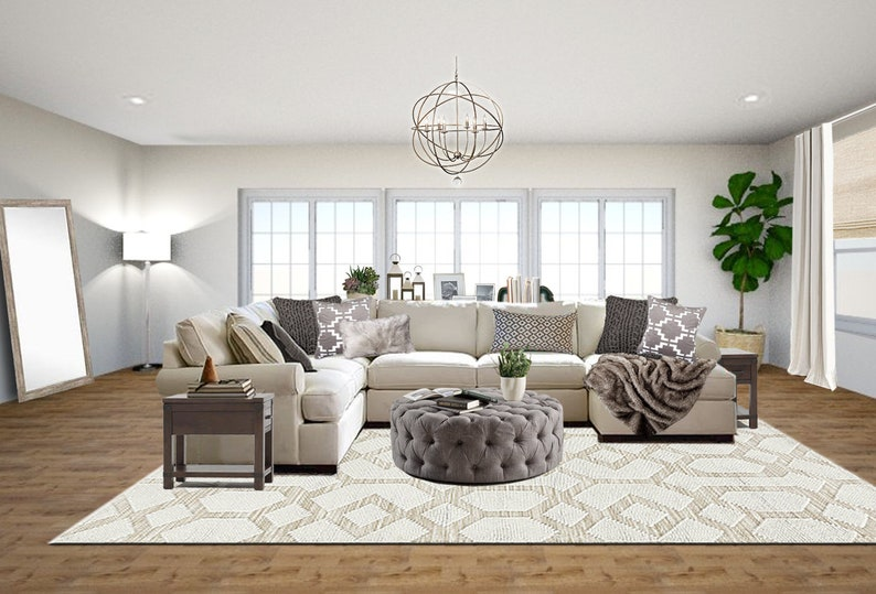 Gray And White Transitional Rustic Living Room With: Transitional Living Room Designs Neutral Living Room