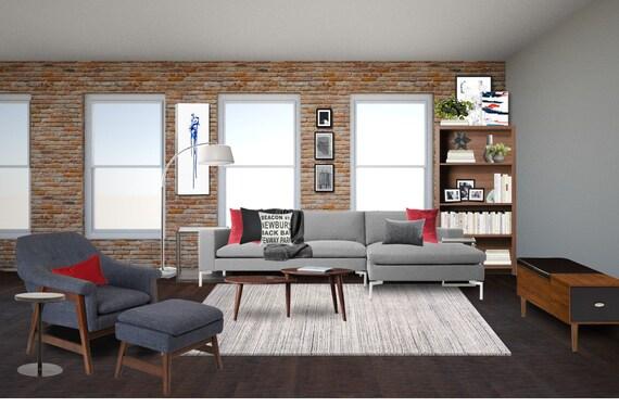 Modern Living Room Interior Designs Masculine Living Room Etsy
