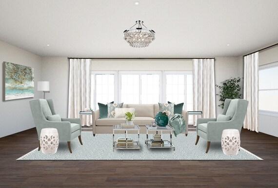 Transitional Living Room Online Interior Designs -Aqua Living Room Designs  -Coastal Living Room Designs