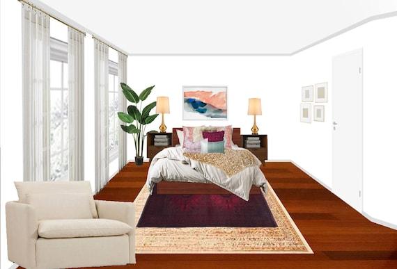 3d Rendering Boho Bedroom Online Interior Design Package Etsy