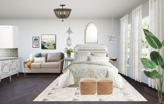 Bohemian Studio Apartment Interior Design - Boho Bedroom Design -Moroccan  Small Space Design