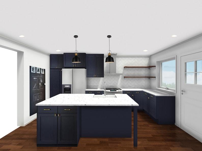 Modern Kitchen Online Interior Designs Navy Brass Kitchen Etsy