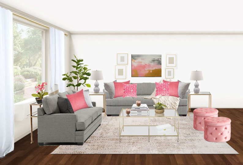 Glam Living Room Online Interior Design
