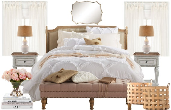 French Country Online Interior Design Bedroom Moodboard Etsy