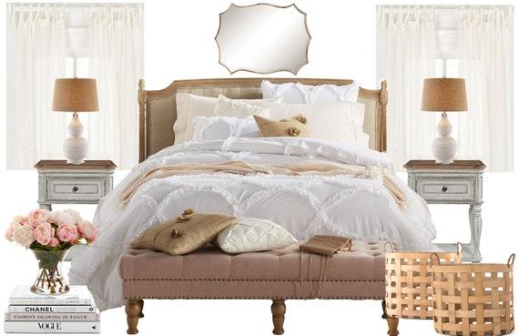 French Country Online Interior Design Bedroom Moodboard - Romantic Vintage  Bedroom Inspiration Board