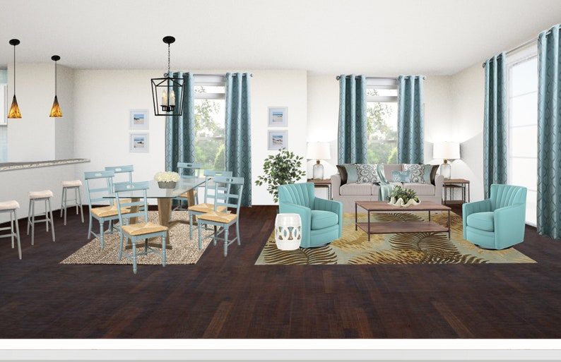 Coastal Condo Living Dining Room Designs Open Concept