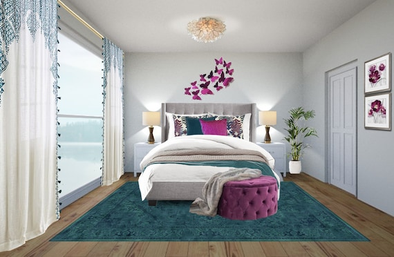 3d Rendering Bohemian Bedroom Online Interior Design Boho Etsy