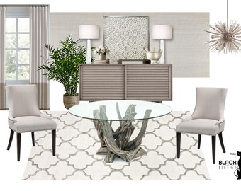 Moodboard - Dining Room Online Interior Design Moodboard - Neutral Dining Room - Modern Dining Room - Contemporary Dining Room