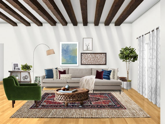 3d Rendering Eclectic Living Room Interior Designs Boho Etsy