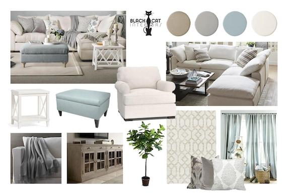 Coastal Living Room Online Interior Design Moodboard