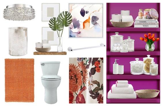 Boho Glam Bathroom Online Interior Design Moodboard Feminine Etsy