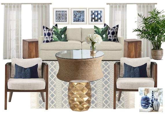 Modern Tropical Living Room Online Interior Design Moodboard Etsy