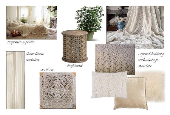 Bohemian Bedroom Online Interior Design Moodboard - Boho Bedroom - Modern  Bohemian Design