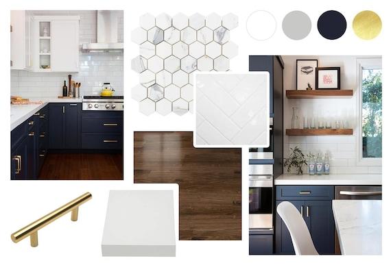 Moodboard Mid Century Kitchen Online Interior Design Etsy