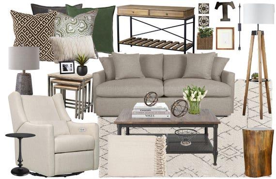 Modern Rustic Living Room Interior Design Moodboard