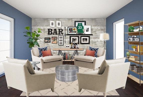 3d Rendering Den Lounge Basement Sports Bar Man Cave Online Etsy
