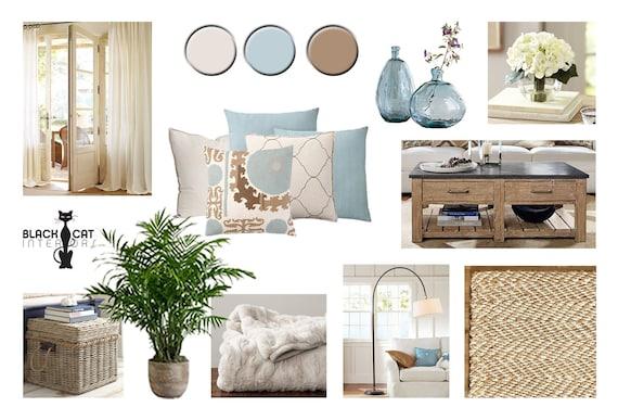 Coastal Living Room Online Interior Design Moodboard Etsy