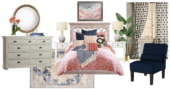 Boho Bedroom Online Interior Design Moodboard Modern Vintage Etsy