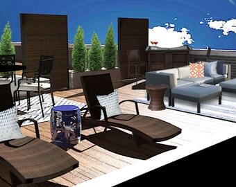 SALE -Rooftop Deck Interior Design - Modern Patio - Patio Furniture Layout