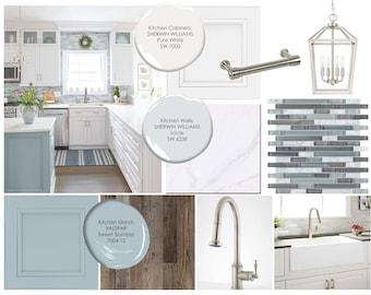 Moodboard -Coastal Kitchen Online Interior Design Moodboard