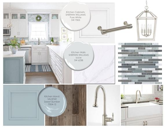 Moodboard Coastal Kitchen Online Interior Design Moodboard Etsy