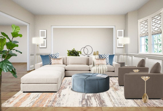 Modern Living Room Interior Designs Blue blush Living Room ...