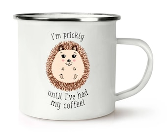 Cute Funny I/'m Prickly Until I/'ve Had My Coffee Hedgehog Keyring Key Chain