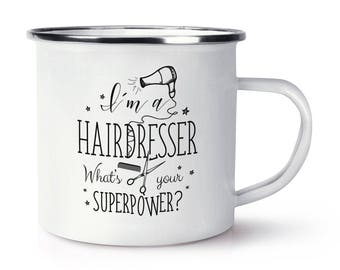 I'm A Hairdresser What's Your Superpower Retro Enamel Mug Cup