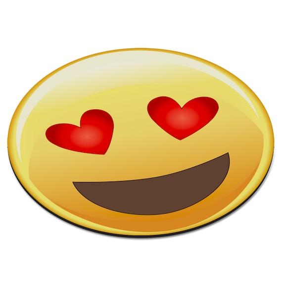 Emoji Love Heart Eyes Smiley Face Circular Pc Computer Mouse Etsy