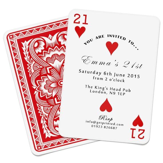 Personalised Playing Card Invitations Invites Birthday Wedding