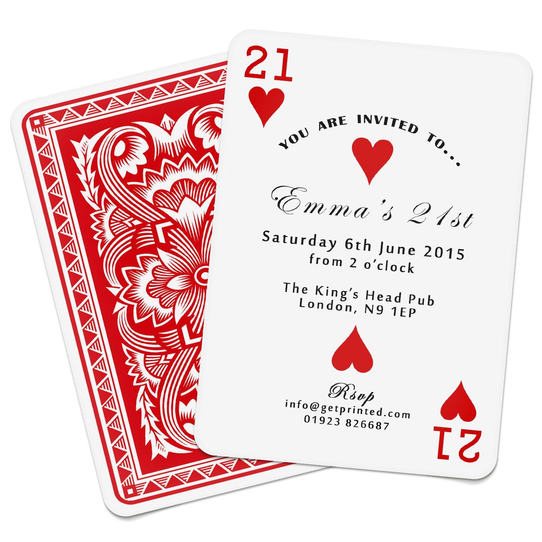 Personalised Playing Card Invitations Invites Birthday Wedding | Etsy