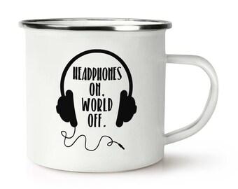 Headphones On World Off Retro Enamel Mug Cup
