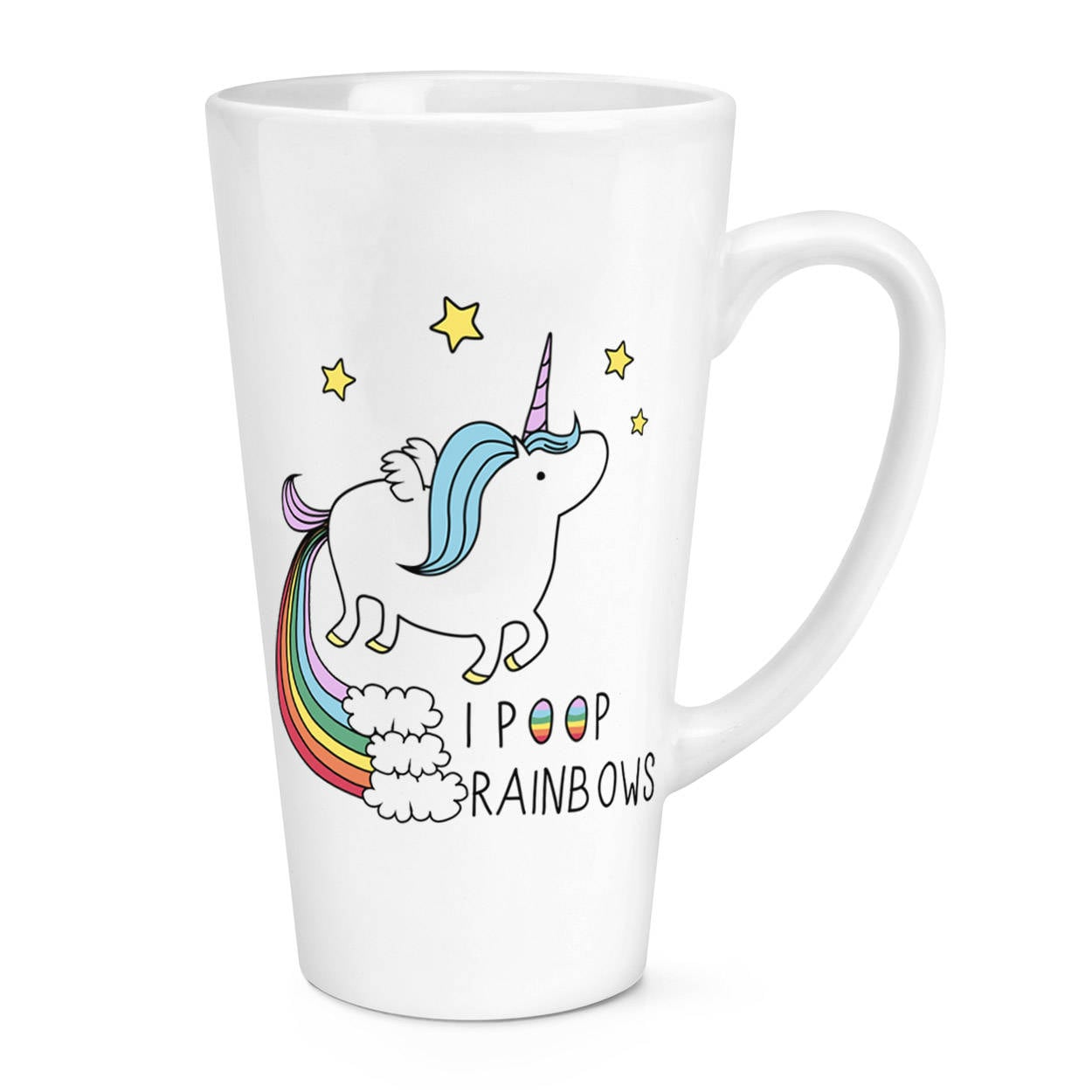 Unicorn I Poop Rainbows 17oz Large Latte Mug Cup