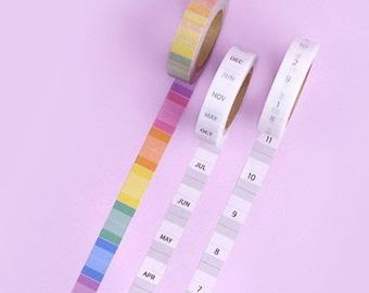 Monthly Index Washi Tape / Masking Tape / Index Sticker / Scrapbooking / Planner Stickers / Bullet Journal / Craft Supplies / DIY
