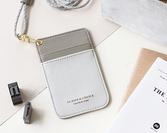 ID Badge Holder   Herringbone     Transportation Card   Leather Card Holder  Wallet   Business Card Wallet   ID Badge   Badge Holder fbb340097a