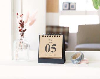 2018 Mini Desk Calendar [ Kraft ] / Stand Calendar / Simple Calendar