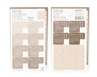 2019 Calendar Stickers [Warm Gray/Orange/Red] / Calendar 2019/ Index Tab Stickers / Planner Stickers / Label Stickers / Scrapbooking Sticker