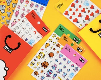 BT21 Planner Stickers / BTS Clear Stickers / Scrapbooking / Decoration / Bullet Journal / Planner Supplies / DIY / Diary Deco Stickers