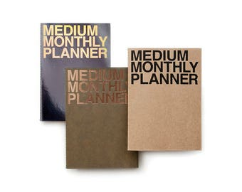 Medium Monthly Planner [ Kraft / Khaki / Metal Black ] / Monthly Schedule / Diary / Kraft Monthly Planner / Undated Planner / Weekly Planner