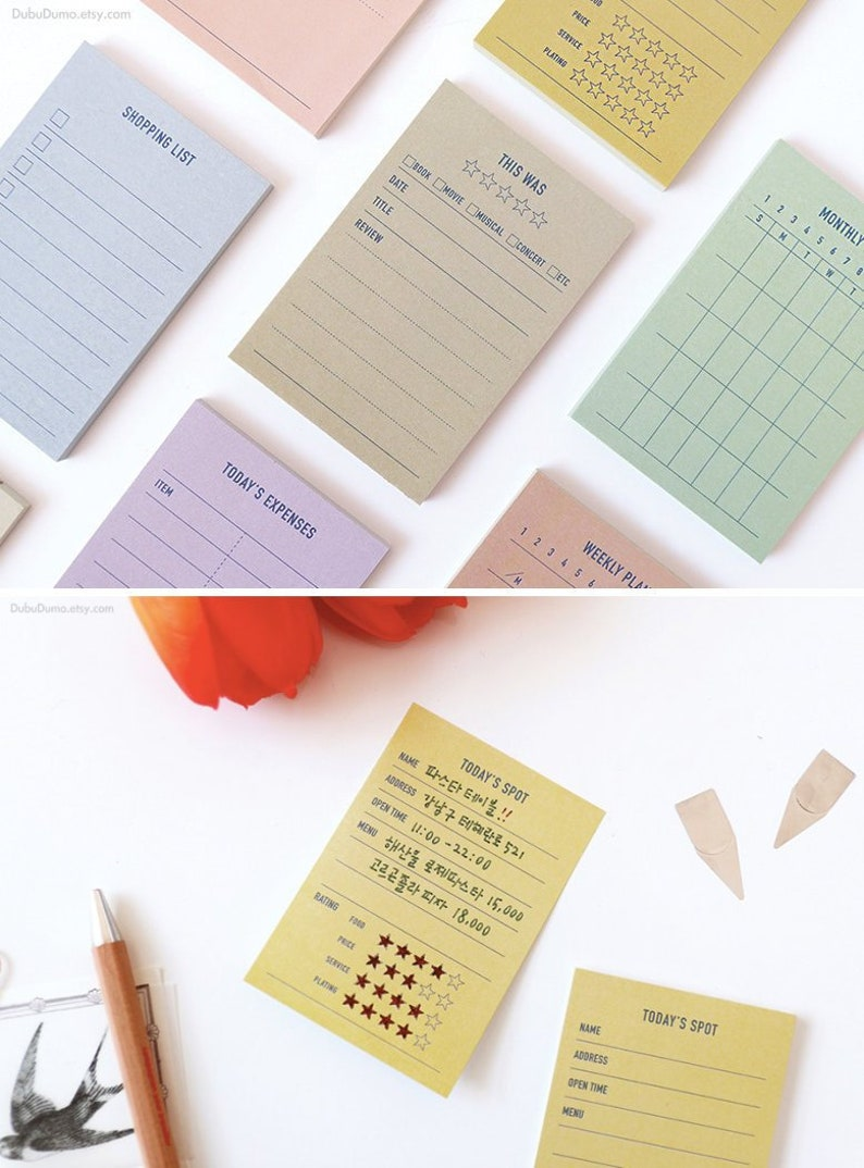 Plan Marker Sticky Notes [8Types] / Daily Checklist / Colorful Notepads /  Review Notepad / Memo pad / Sticky Note / Stationery /Scrapbooking