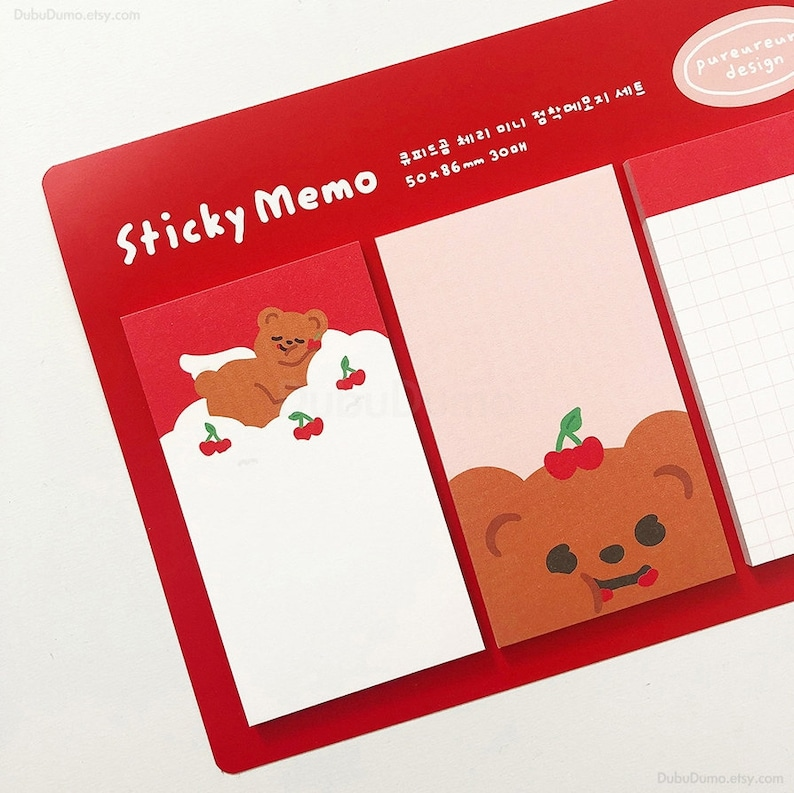 Cupid Bear Sticky Notes  Notepad  Notepads  Memo Pad  Bookmark  Index sticky note  Stationery  Scrapbooking  School Supplies